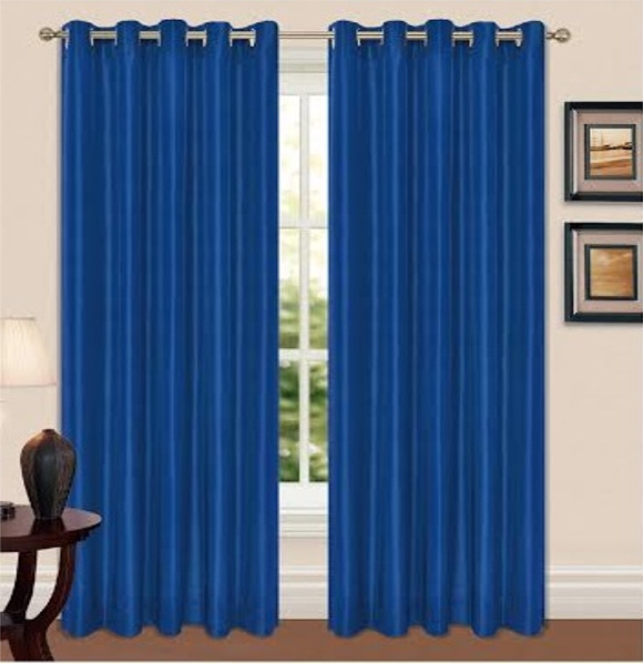 Thermal Blackout Eyelet Curtains In Relaxing Blue