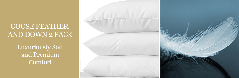 Goose feather and down pillows 2 pack
