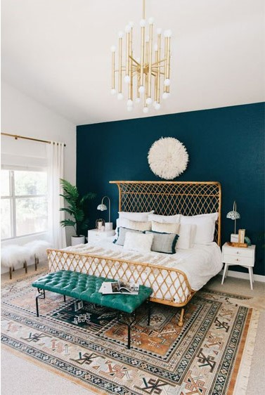 blue and gold bedroom inspiration
