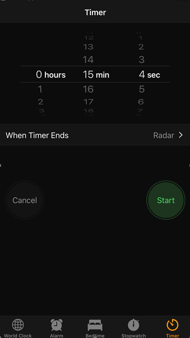 Open your iPhone Timer