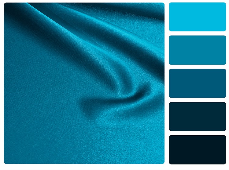 Blue satin colour palette swatch