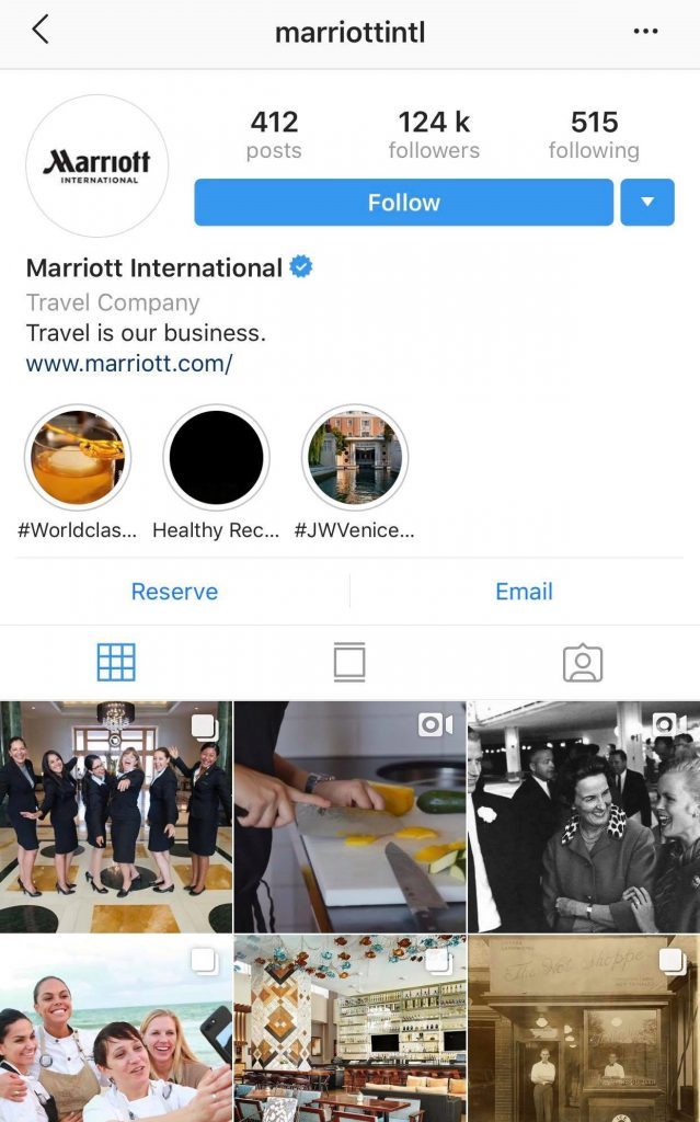 Marriott International Instagram Account